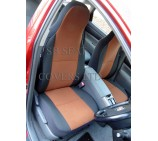 VW Transporter T5 Van Seat Covers - Tan Suede 2 Fronts