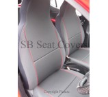 Fiat Doblo Van Seat Covers Charcoal Grey with Red Piping - Two Fronts