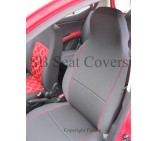 VW T5 2 Seater Van Seat Covers Charcoal Grey with Red Piping - Two Fronts