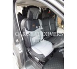 VW Transporter T6 Van Seat Covers, Rossini Mesh Sport BO 3, Grey & Black