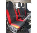 Ford Transit Custom Van Seat Covers- Anthracite + Red Bolsters Full Set