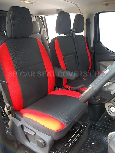 Ford Transit Custom Van Seat Covers Anthracite Red