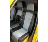 Ford Transit 2014 Van Seat Covers - Made to Measure Silver + Black Leatherette