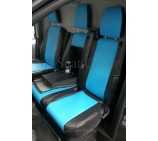 Ford Transit 2014 Van Seat Covers - Made to Measure Blue + Black Leatherette