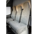 Peugeot Partner Van Seat Covers Deluxe Grey Faux Sheep Skin