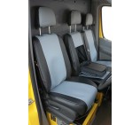 Vauxhall Movano Van Black And Silver Grey Leatherette Seat Covers - Made To Measure