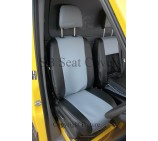 VW Transporter T4 Van Seat Covers Silver Grey And Black Leatherette - Made to Measure