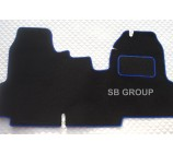 Ford Transit van one piece floor mat in black carpet with blue piping 2006+ models