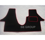 VW Transporter T5 van one piece floor mat in black carpet with red piping