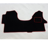 VW Crafter van one piece floor mat in black carpet with red piping