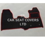 Ford Transit Custom Van, 2013 Onwards, Black Carpet with Red Piping Mat
