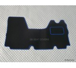 Nissan Interstar van one piece floor mat in black carpet with blue piping 2003 - 2010 models