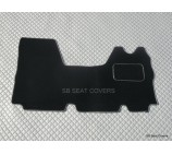 Renault Master van one piece floor mat in black carpet with silver piping 2003 - 2010 models