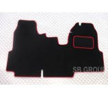 Ford Transit van one piece floor mat in black carpet with red piping 2006+ models