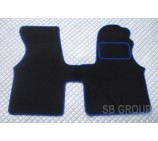 VW transporter T4 van one piece floor mat in black carpet blue piping