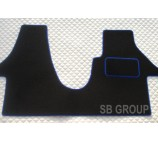 VW Transporter T5 van one piece floor mat in black carpet with blue piping