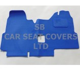 Ford Transit van one piece floor mat in blue carpet, 2000 - 2005 Models