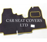 Ford Transit van one piece floor mat in Black Carpet with Yellow Piping 2006+ models