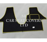 VW Transporter T5 van one piece floor mat in Black Carpet with Yellow Piping