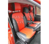 Nissan Primastar 2014 (new shape) Van Seat Covers - Made to Measure - Leatherette Black & Red