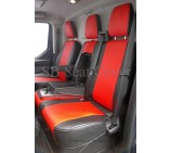 Ford Transit Custom Van Seat Covers - Made to Measure Red + Black Leatherette