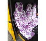 FORD TRANSIT CUSTOM VAN SEAT COVERS LILAC COW FUR