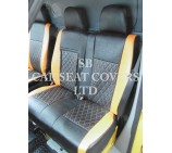 Mercedes Sprinter 2006 Onwards Van Seat Covers - Rossini Diamond Stitch Orange + Black