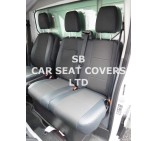 Ford Transit (2014 Onwards) Van Seat Covers - 161 Fabric With Leatherette Trim Made To Measure Set