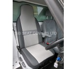 Ford Transit Van drivers single seat cover -sheen grey cloth fabric