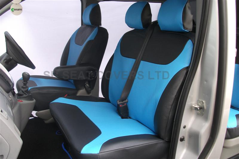 vauxhall vivaro 9 seater mini bus seat cover blue leatherette made to measure set vsc903. Black Bedroom Furniture Sets. Home Design Ideas